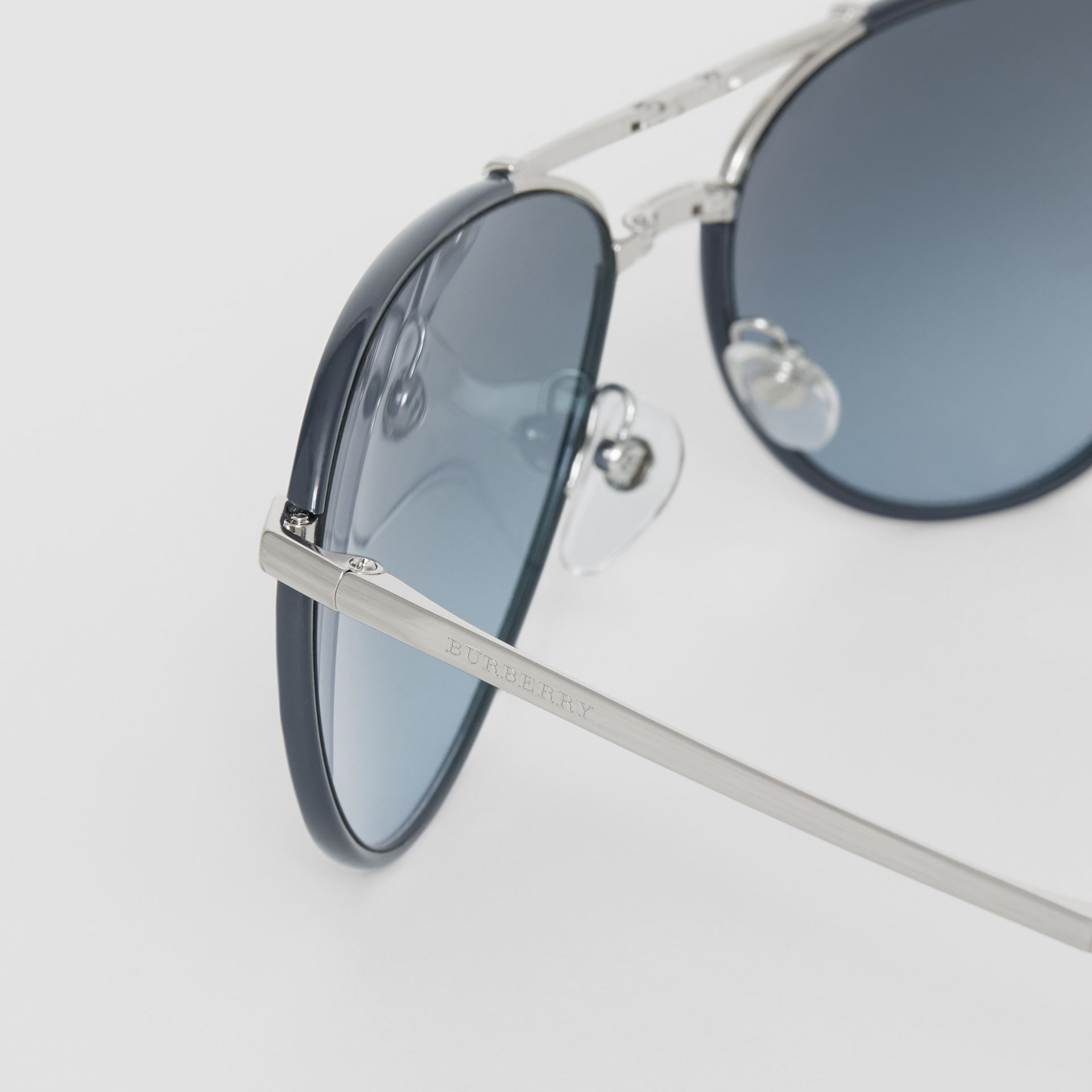 Folding Pilot Sunglasses in Navy - Men | Burberry United Kingdom - gallery image 1