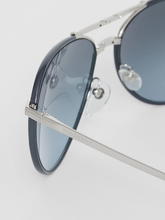 Folding Pilot Sunglasses in Navy - Men | Burberry Hong Kong - cell image 1