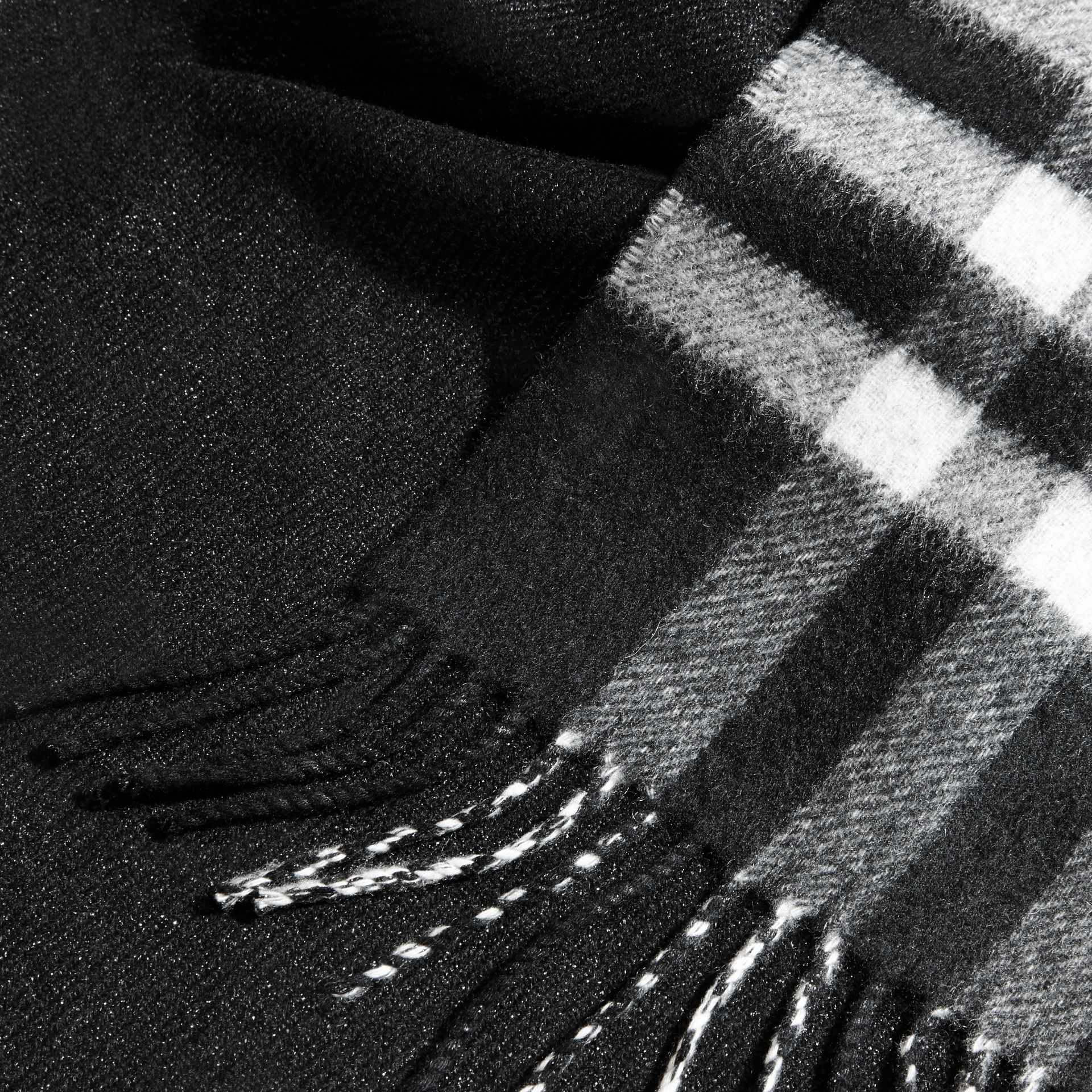 Reversible Metallic Check Cashmere Scarf Black - gallery image 5