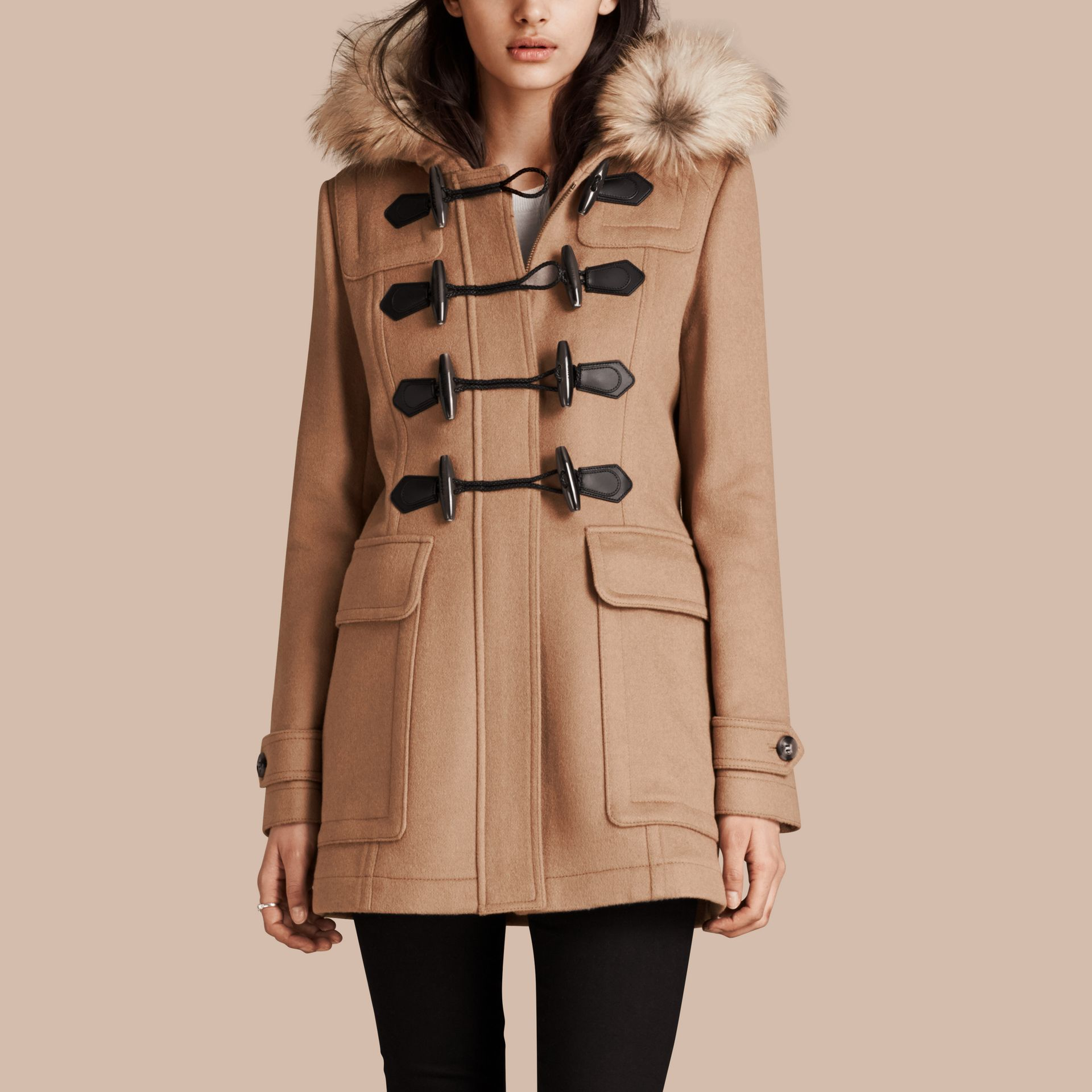 Detachable Fur Trim Wool Duffle Coat Camel - gallery image 5
