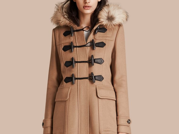 Detachable Fur Trim Wool Duffle Coat Camel - cell image 4