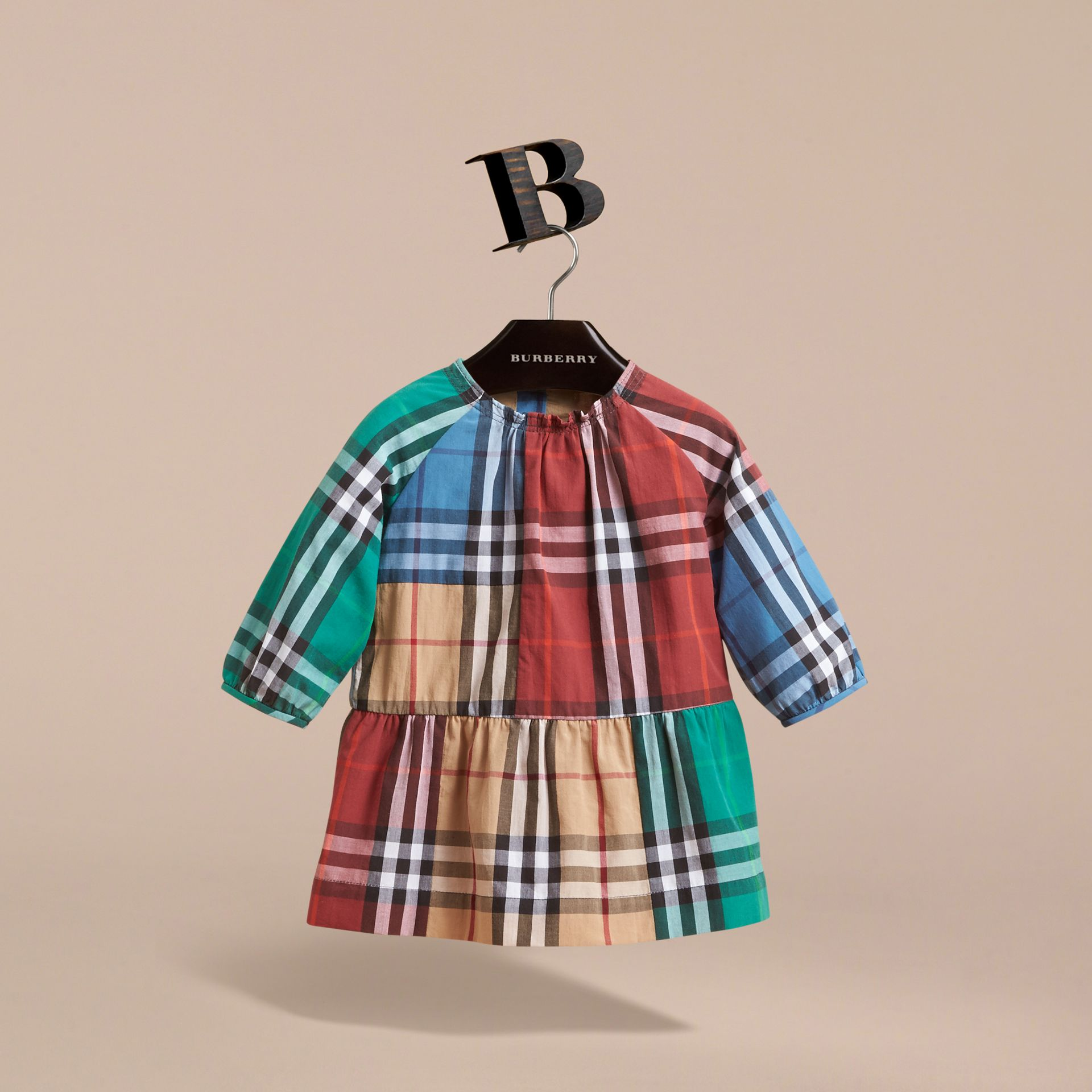Colour Block Check Cotton Gathered Dress in Camel | Burberry Canada - gallery image 3