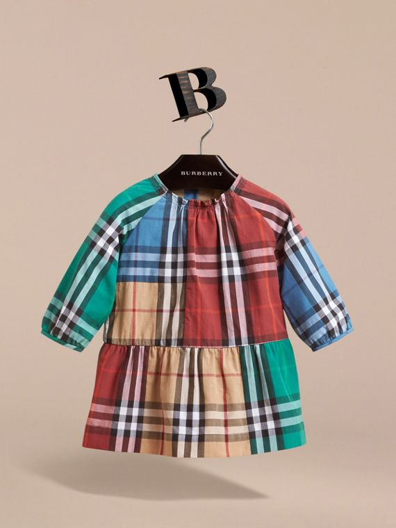 Colour Block Check Cotton Gathered Dress in Camel | Burberry - cell image 2