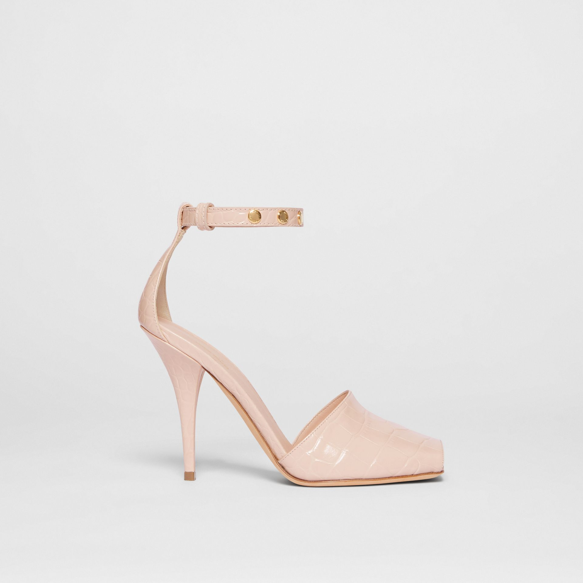 Triple Stud Embossed Leather Peep-toe Sandals in Rose Beige - Women | Burberry - gallery image 5