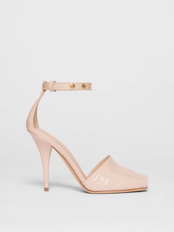 Triple Stud Embossed Leather Peep-toe Sandals in Rose Beige