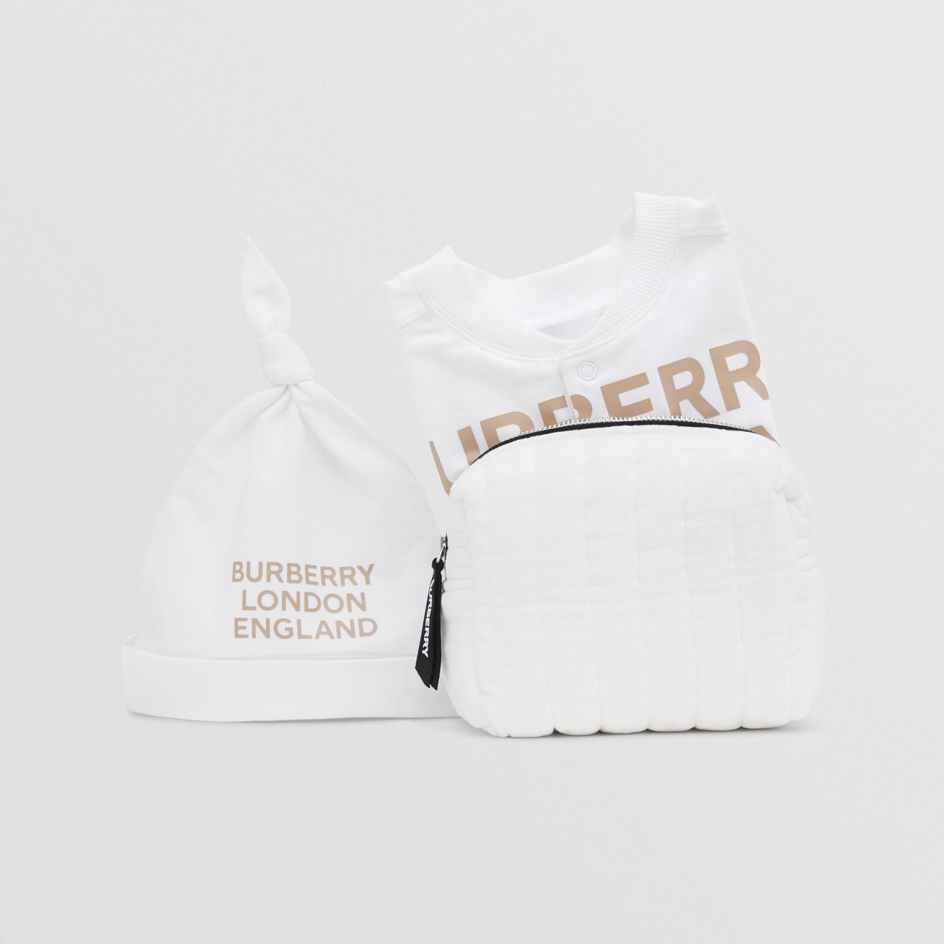 Set regalo da due pezzi in cotone biologico per neonato con stampa del logo (Bianco) - Bambini | Burberry - immagine della galleria 9