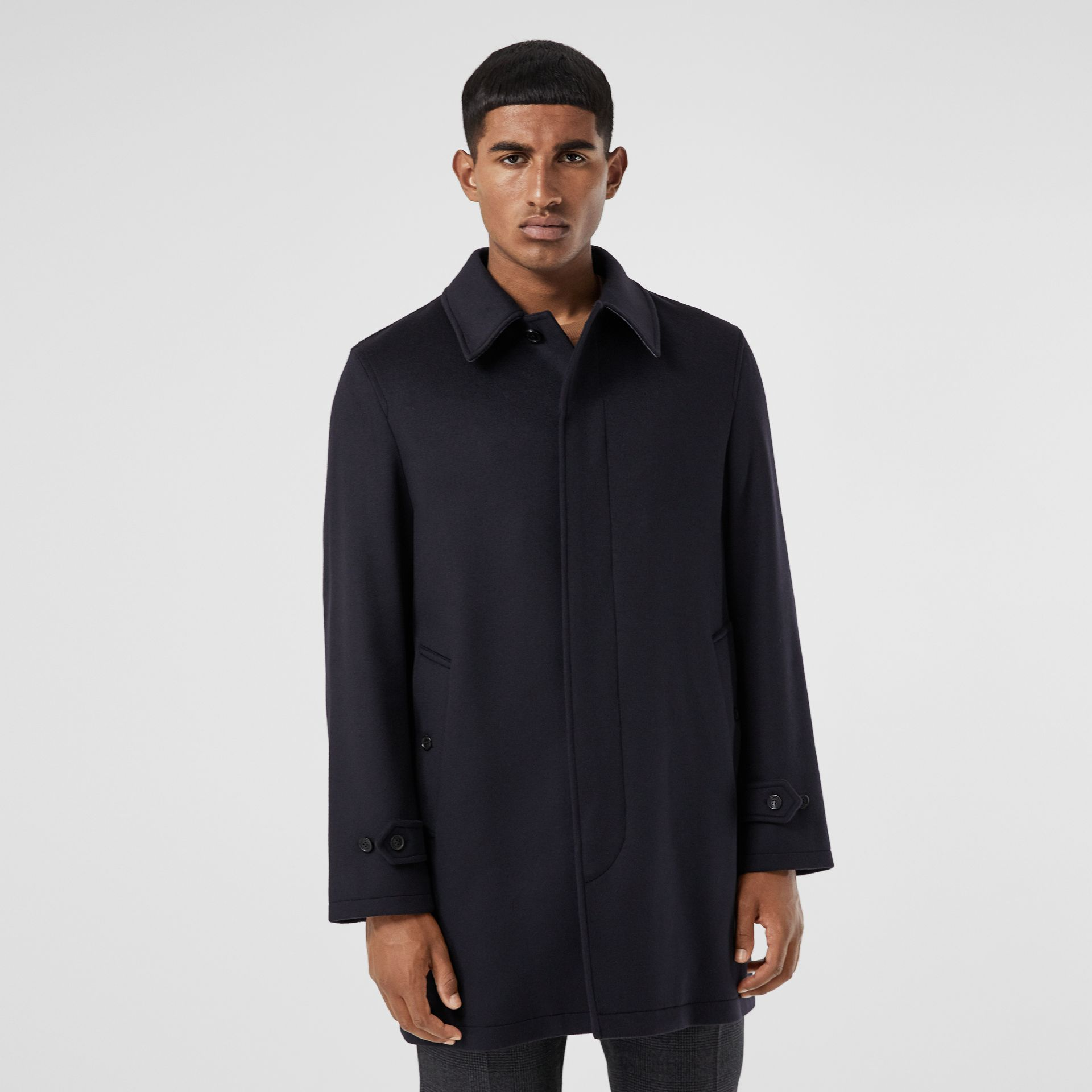 Wool Cashmere Car Coat in Navy - Men | Burberry Australia - gallery image 6