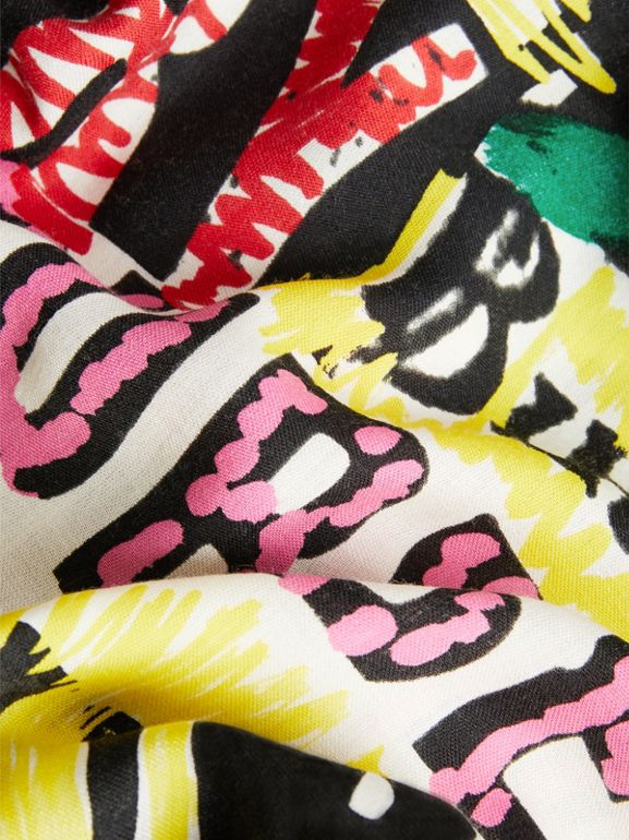 Tag Print Wool Silk Large Square Scarf in Multicolour | Burberry - cell image 1