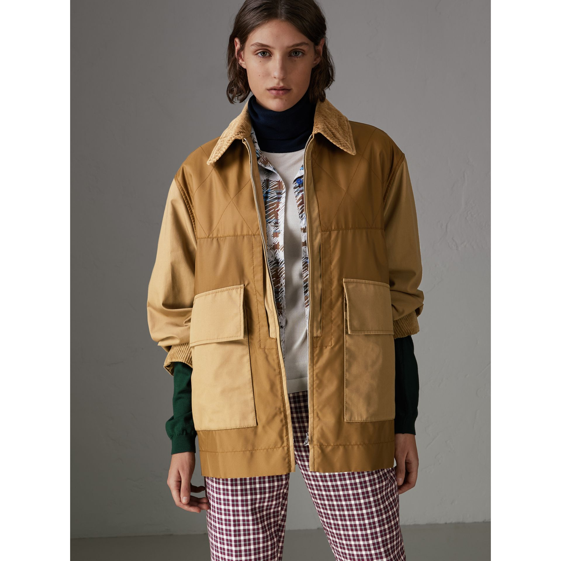 Quilted Panel Cotton Blend Jacket in Camel - Women | Burberry - gallery image 5