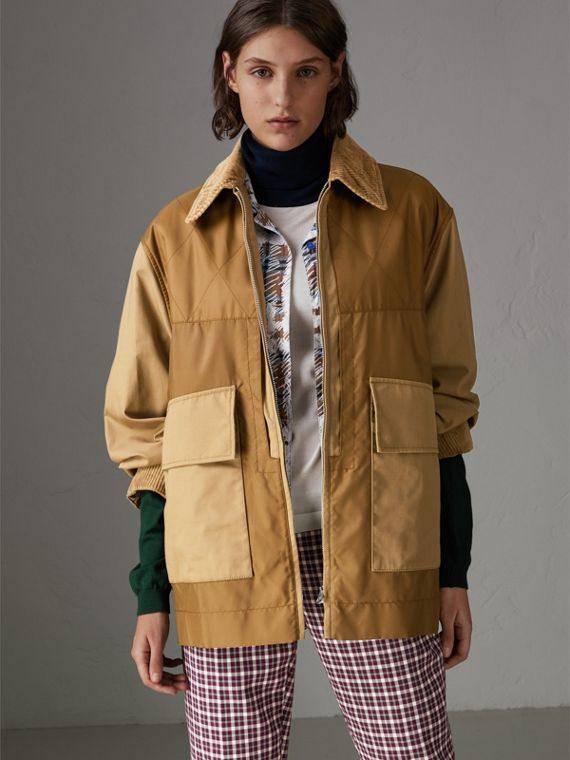 Quilted Panel Cotton Blend Jacket in Camel