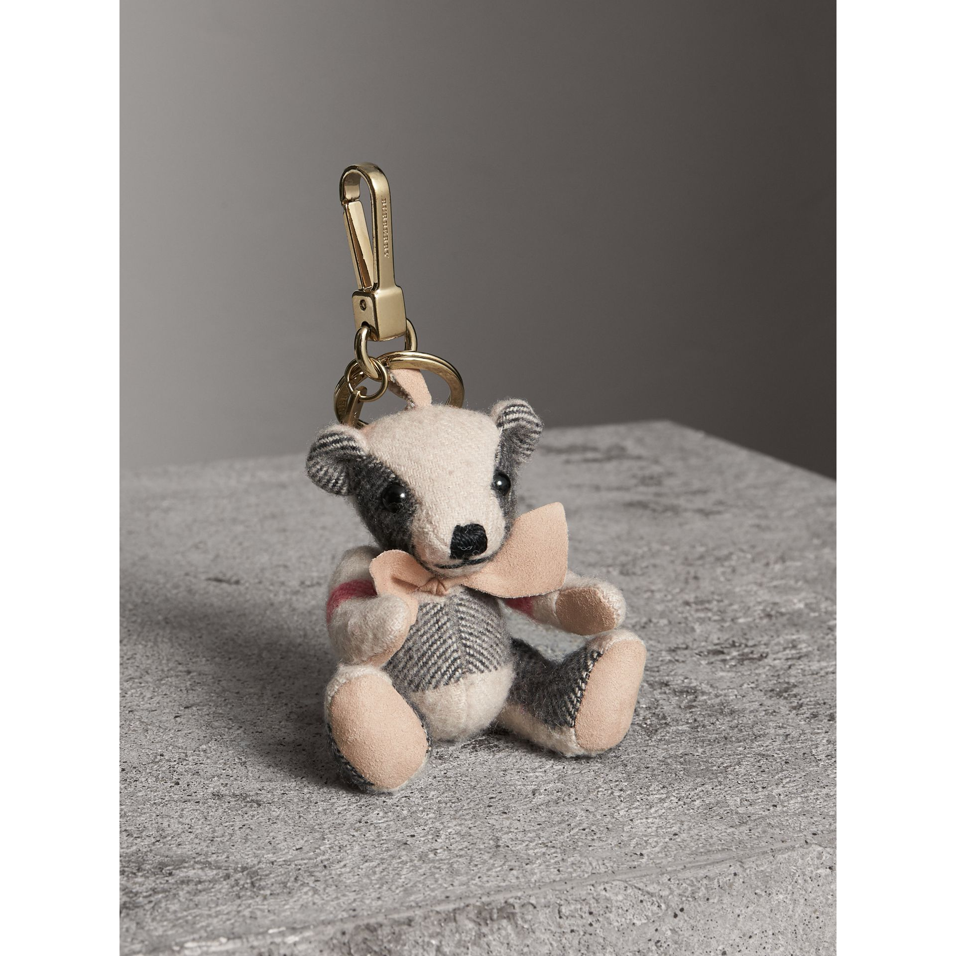 Thomas Bear Charm in Check Cashmere in Stone | Burberry Singapore - gallery image 1