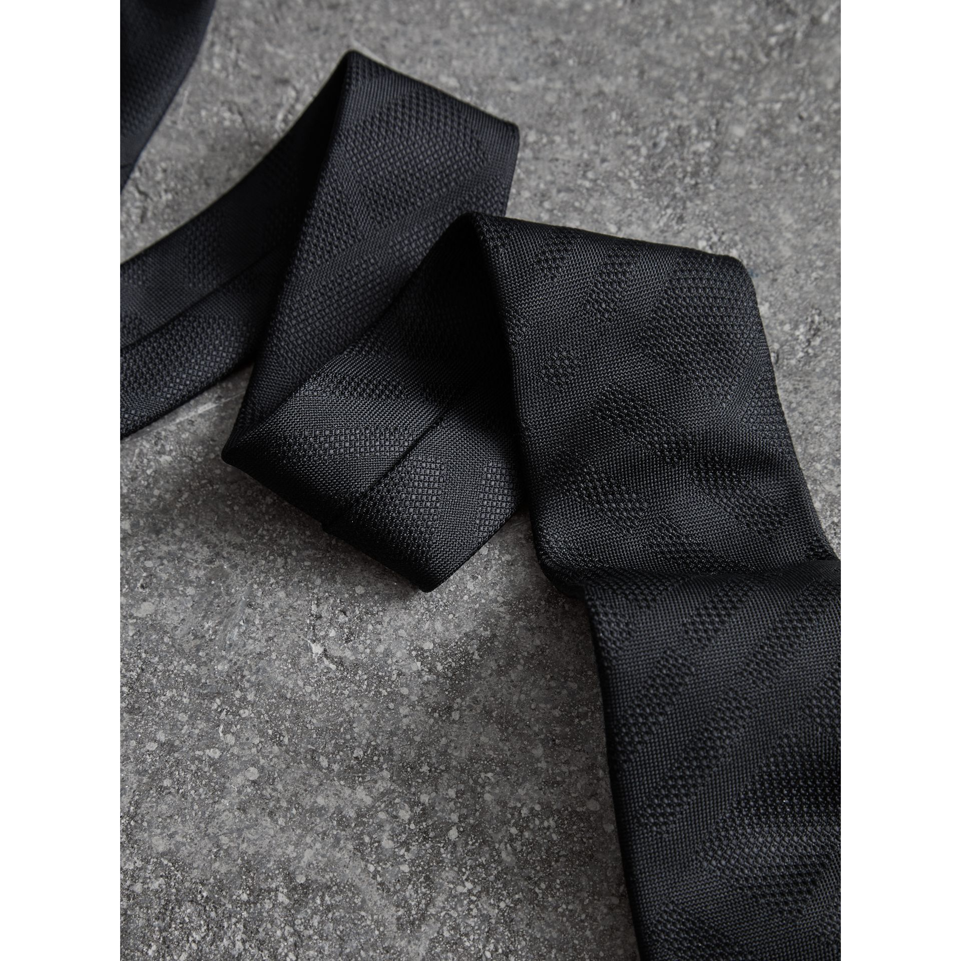 Modern Cut Check Silk Tie in Black - Men | Burberry United Kingdom - gallery image 1