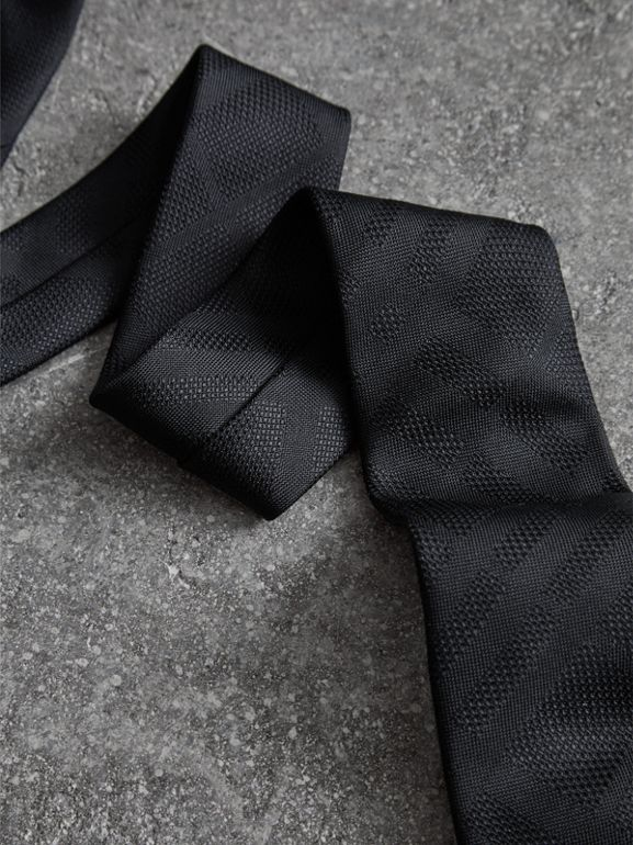 Modern Cut Check Silk Tie in Black - Men | Burberry United Kingdom - cell image 1