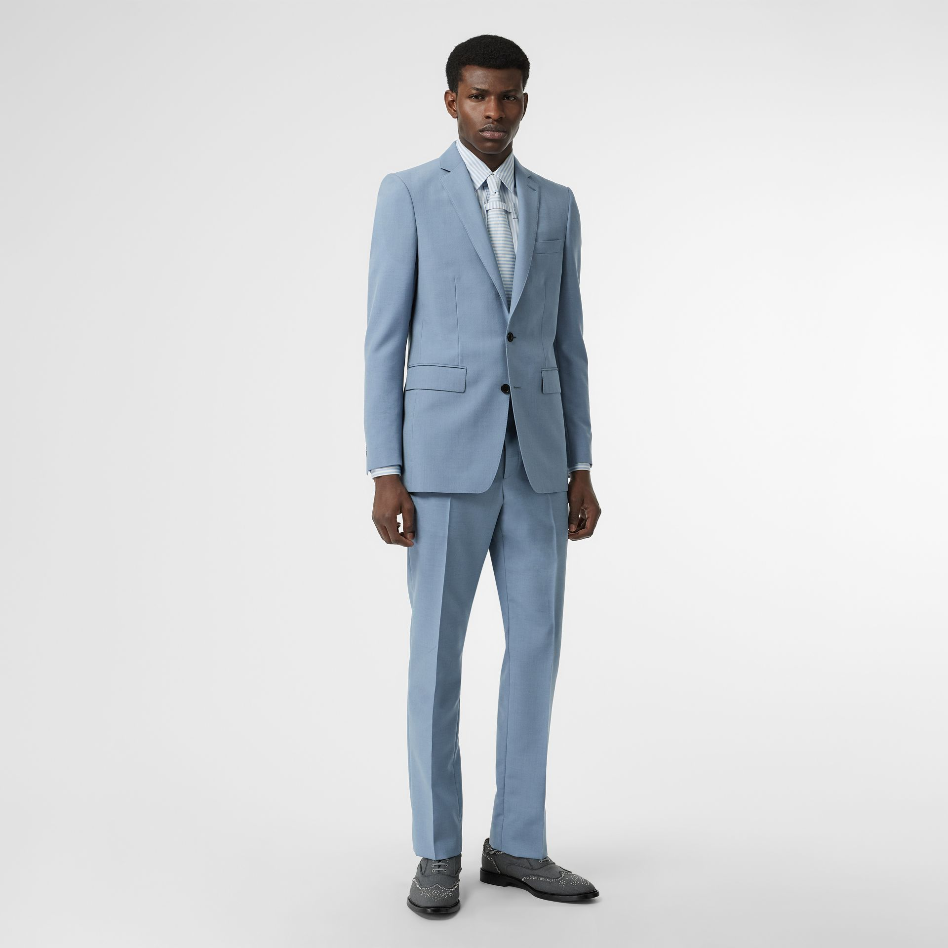 Classic Fit Wool Mohair Tailored Jacket in Pale Blue - Men | Burberry United Kingdom - gallery image 0