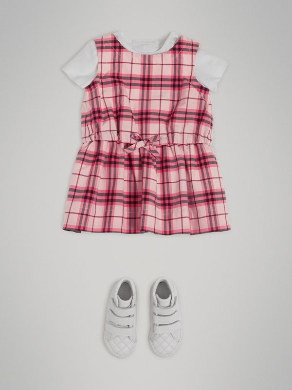 Gathered Check Cotton Dress in Bright Rose - Children | Burberry - cell image 2