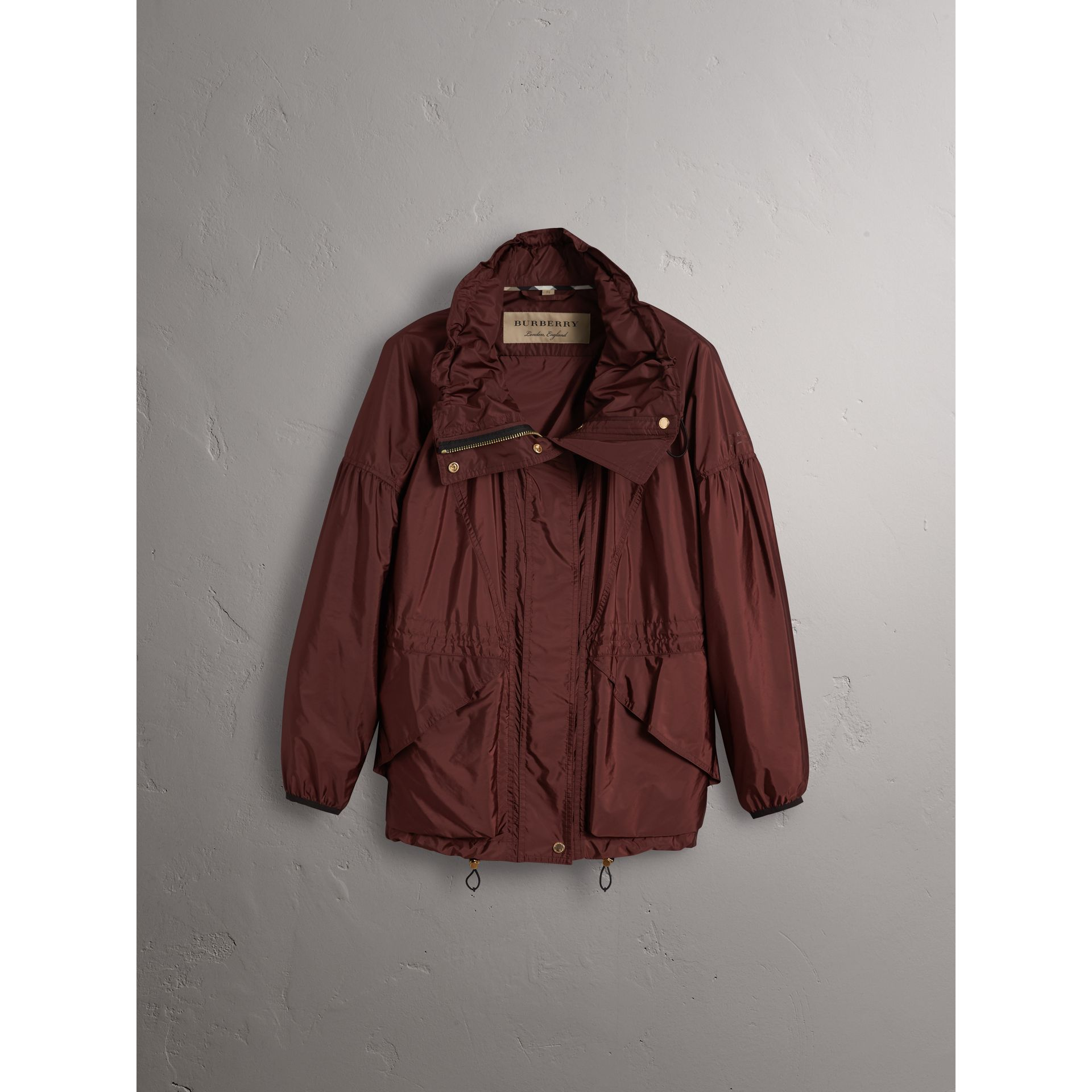 Packaway Hood Lightweight Rain Jacket in Deep Burgundy - Women | Burberry - gallery image 4