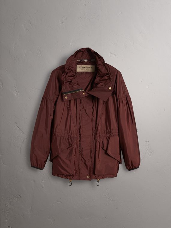 Packaway Hood Lightweight Rain Jacket in Deep Burgundy - Women | Burberry - cell image 3