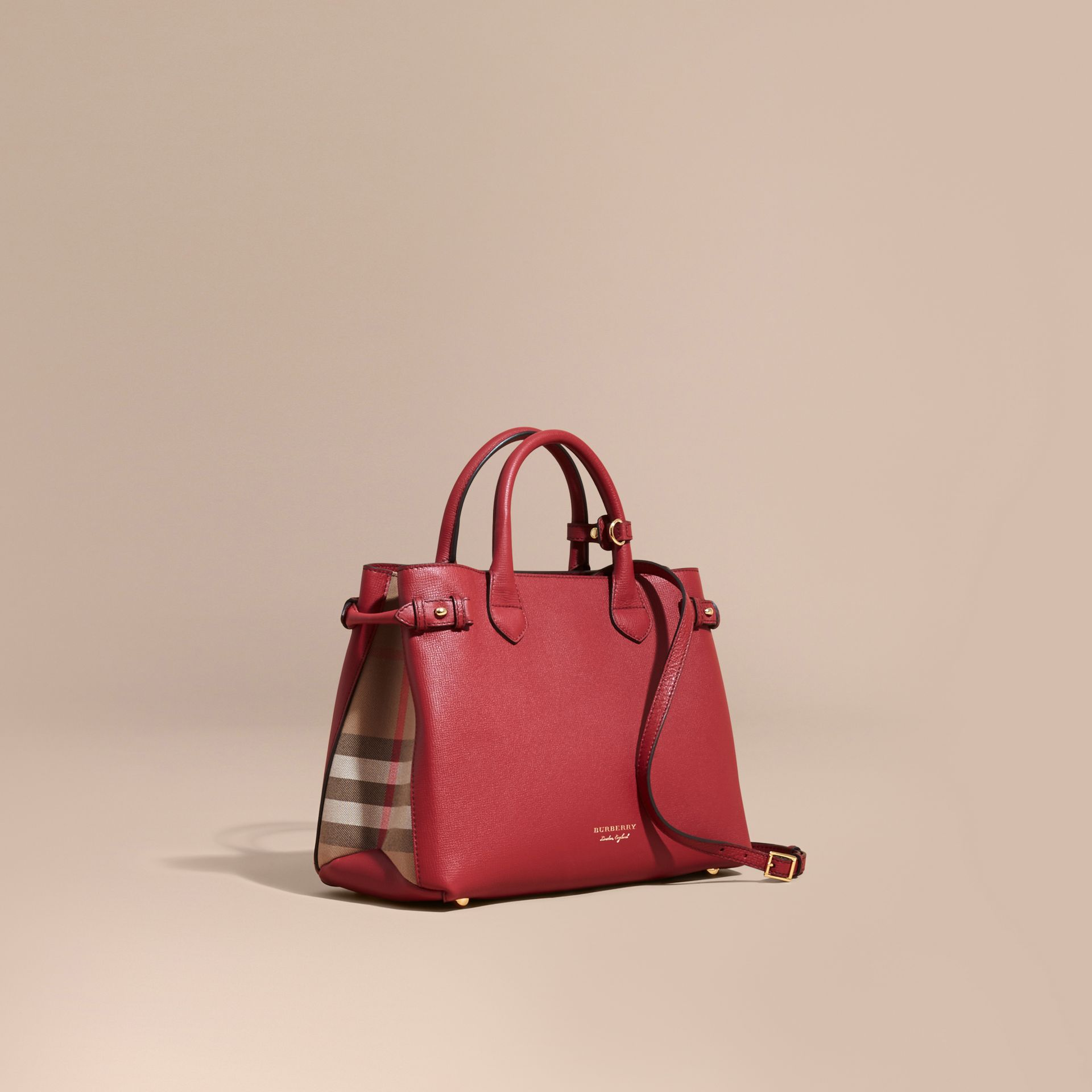 The Medium Banner in Leather and House Check in Russet Red - Women | Burberry - gallery image 1