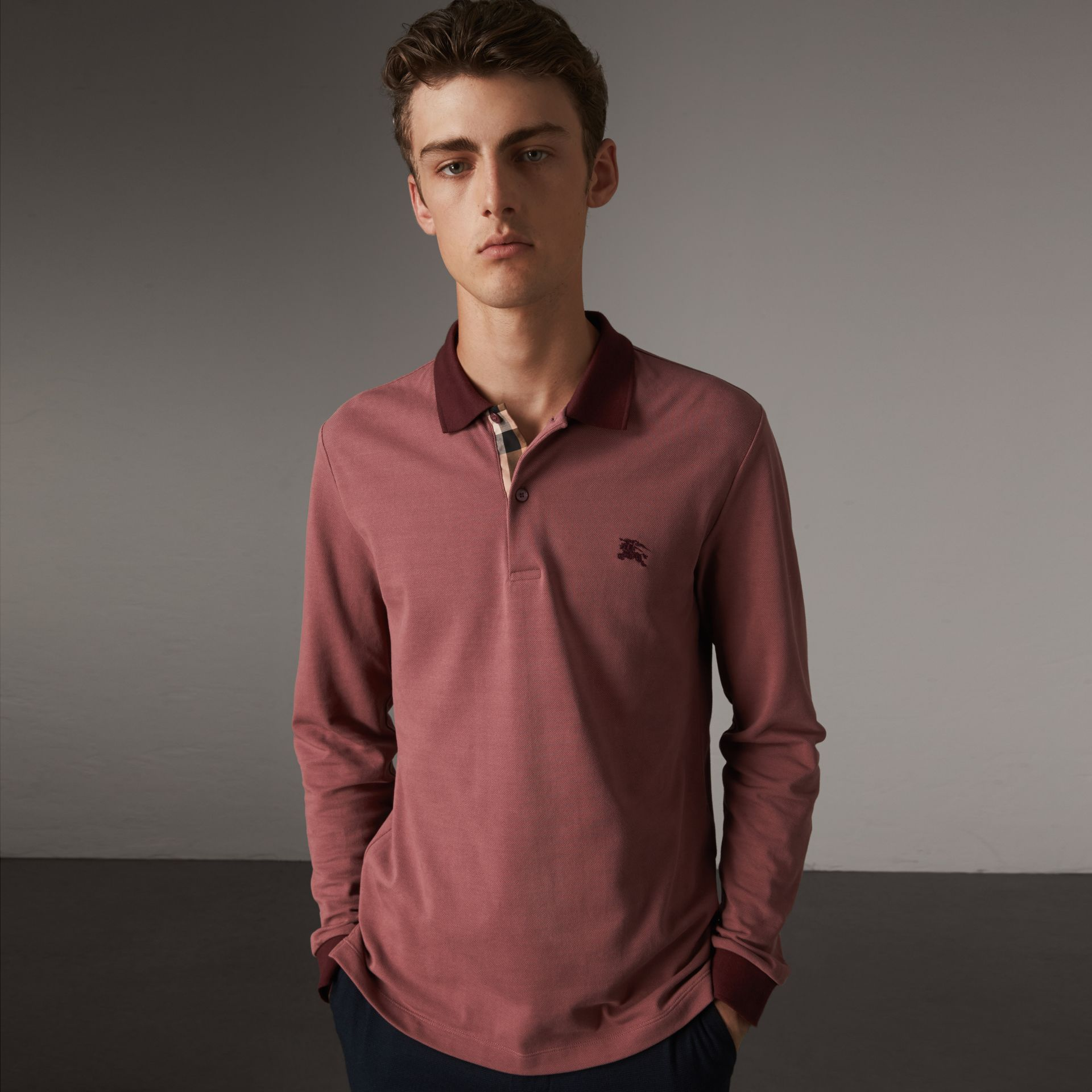 Long-sleeve Cotton Piqué Polo Shirt in Rosewood - Men | Burberry Singapore - gallery image 0