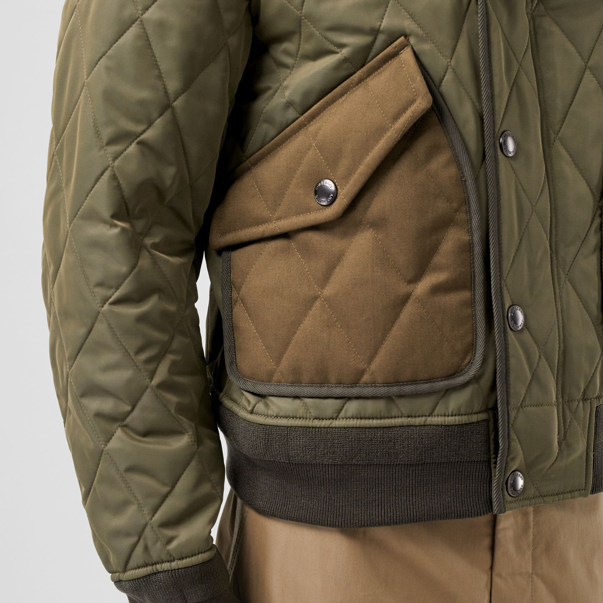 Diamond Quilted Thermoregulated Jacket in Dark Olive - Men | Burberry - gallery image 1