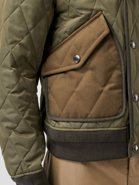 Diamond Quilted Thermoregulated Jacket in Dark Olive - Men | Burberry - cell image 1