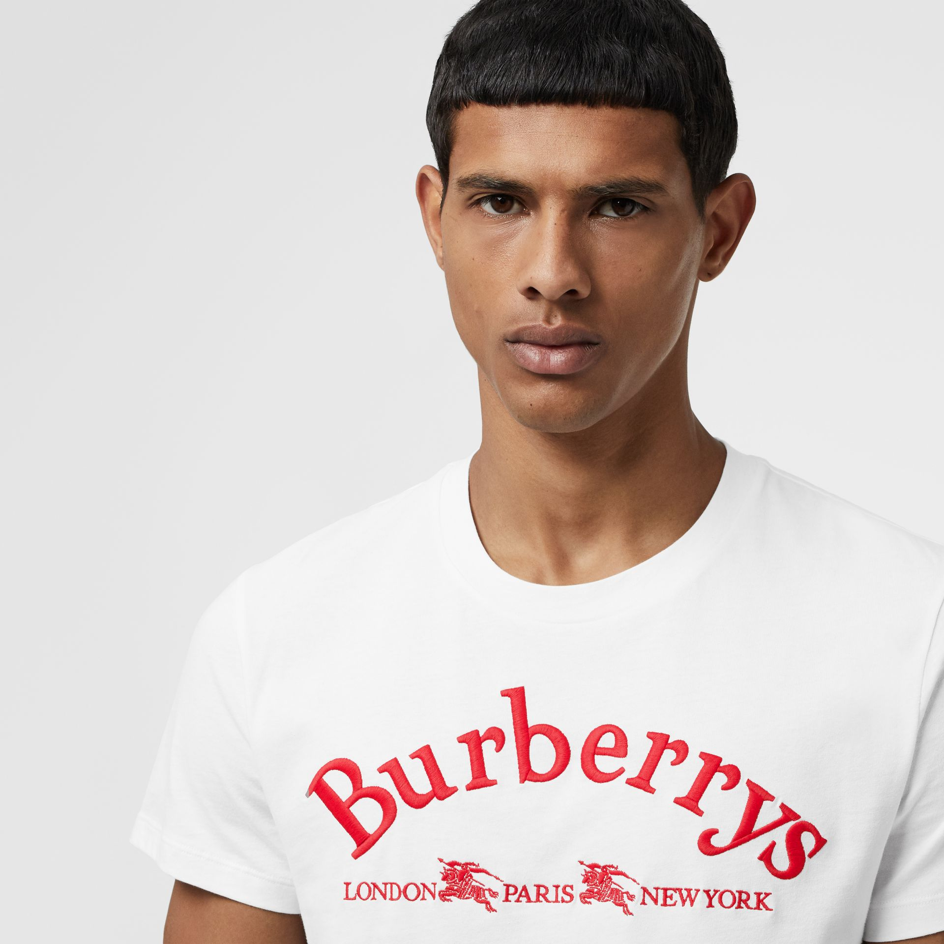 Archive Logo Cotton T-shirt in White - Men | Burberry - gallery image 1