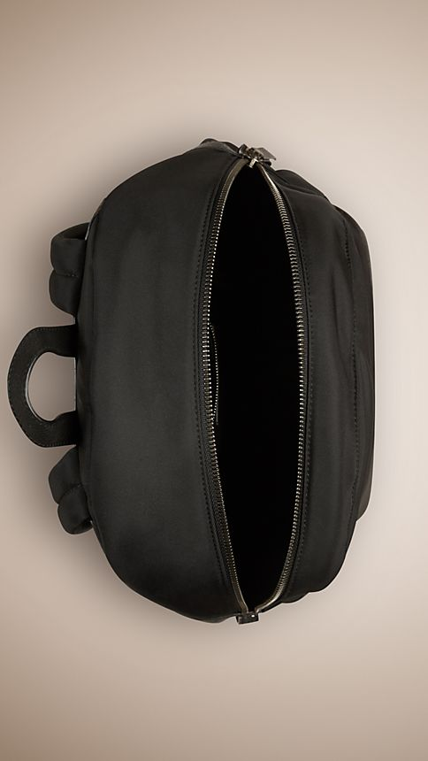 Black Leather Detail Nylon Backpack - Image 4