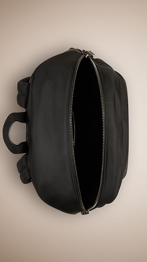 Black Leather Detail Nylon Backpack - Image 4