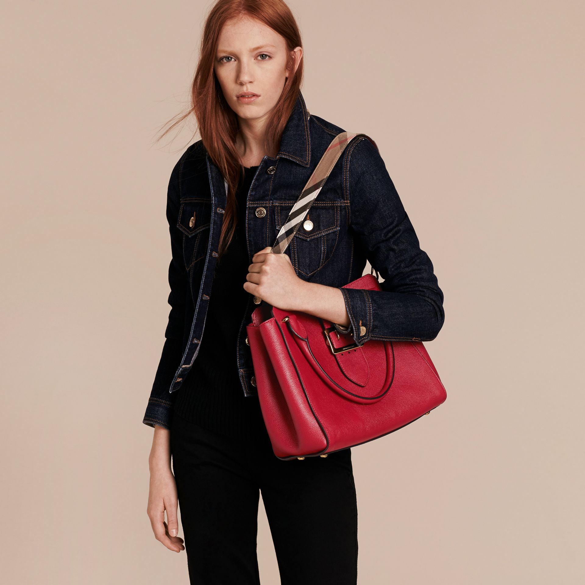 The Medium Buckle Tote in Grainy Leather Parade Red - gallery image 3