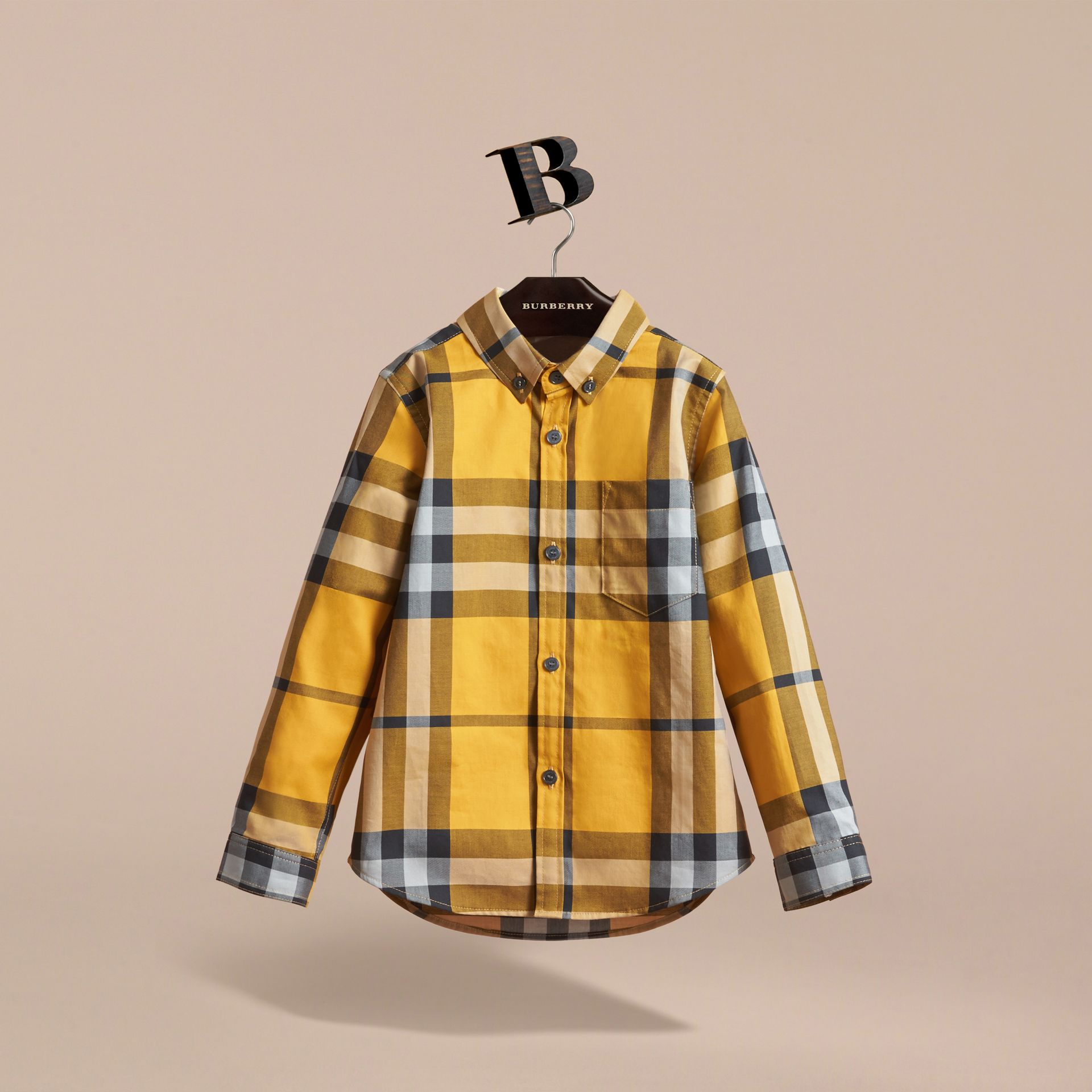 Check Cotton Button-Down Shirt in Saffron Yellow - Boy | Burberry United Kingdom - gallery image 3