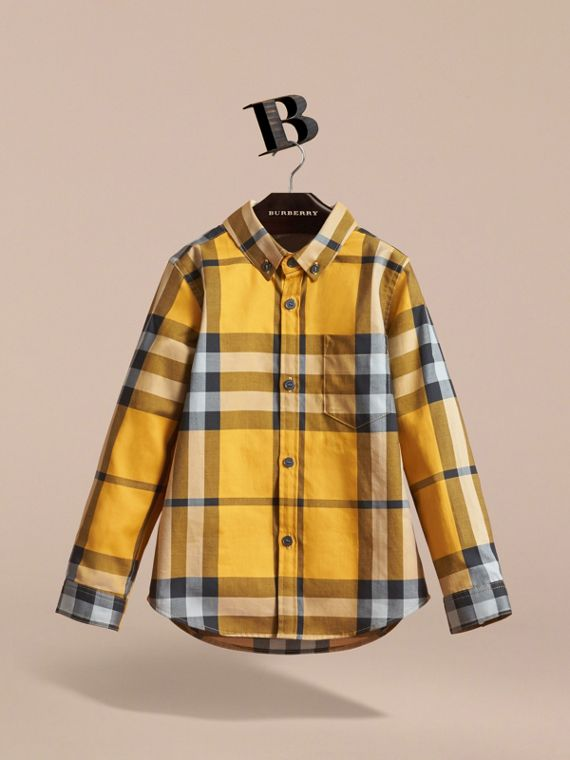 Check Cotton Button-Down Shirt in Saffron Yellow - Boy | Burberry - cell image 2