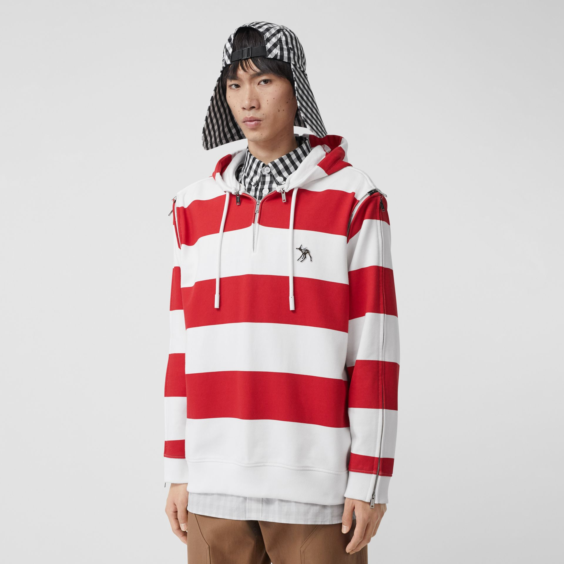 Zip Detail Striped Cotton Hoodie in Red | Burberry - gallery image 0