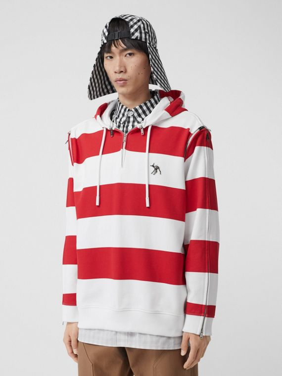 Zip Detail Striped Cotton Hoodie in Red