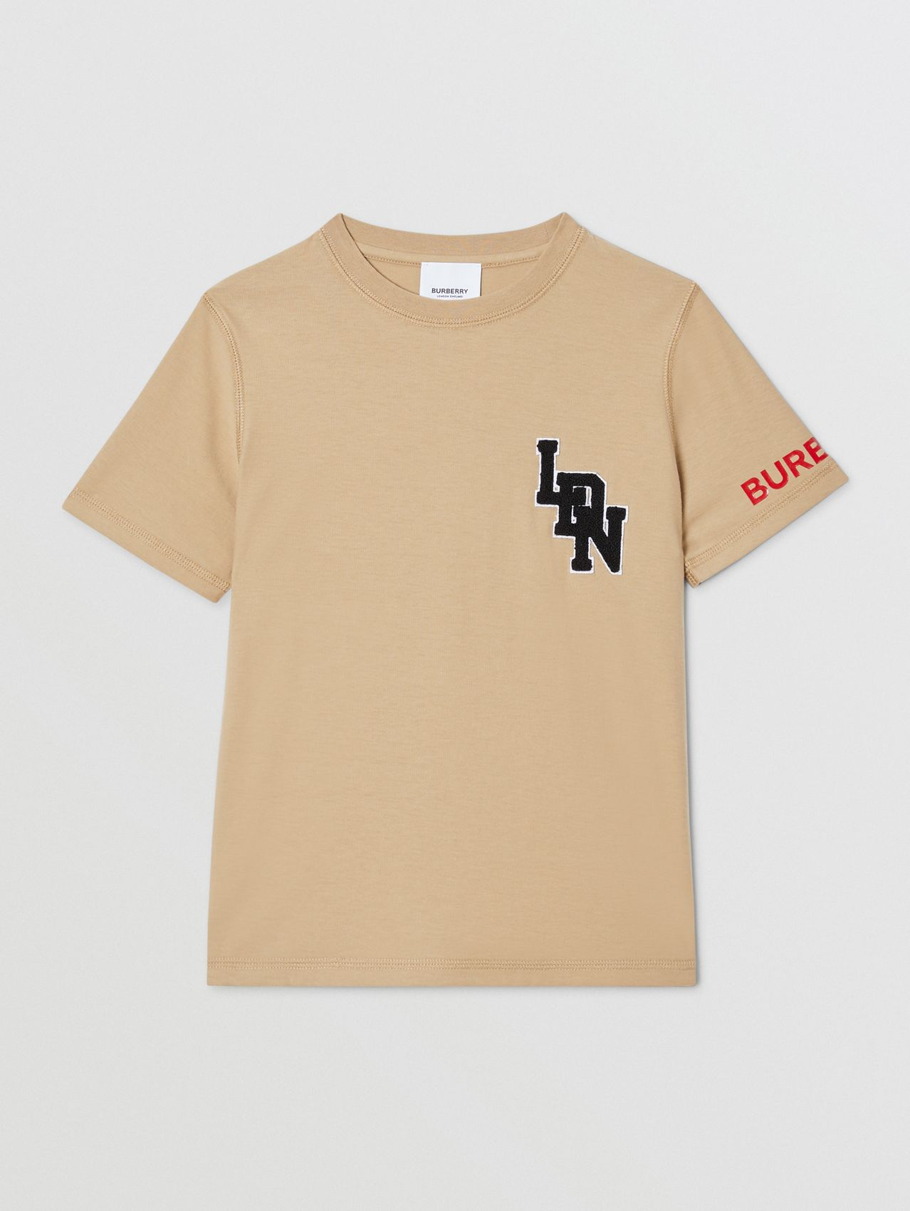 Logo Graphic Cotton T-shirt in Archive Beige