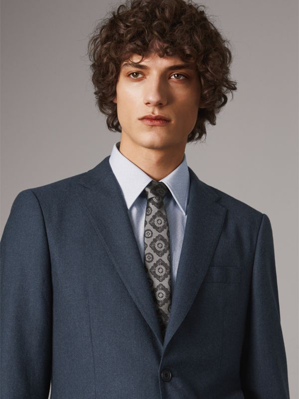 Slim Cut Tiled Floral Silk Jacquard Tie in Pale Grey - Men | Burberry United Kingdom - cell image 2