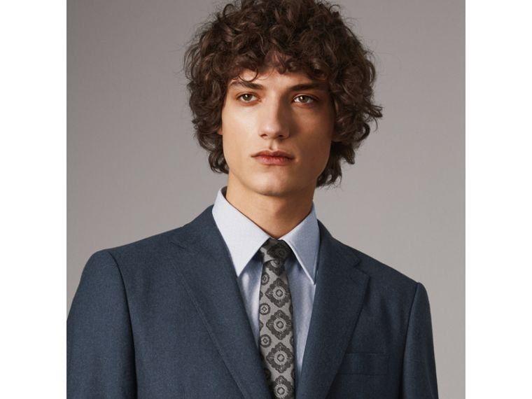 Slim Cut Tiled Floral Silk Jacquard Tie in Pale Grey - Men | Burberry Australia - cell image 2