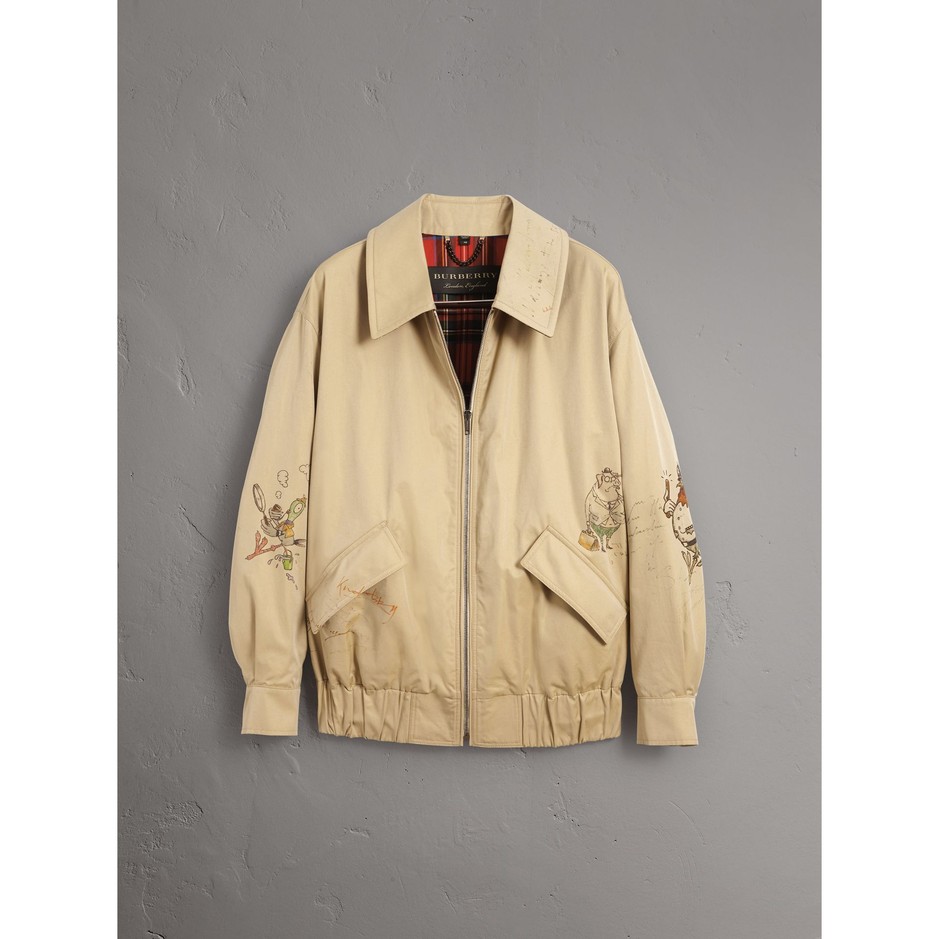 Sketch Print Cotton Gabardine Harrington Jacket in Honey - Men | Burberry United Kingdom - gallery image 3