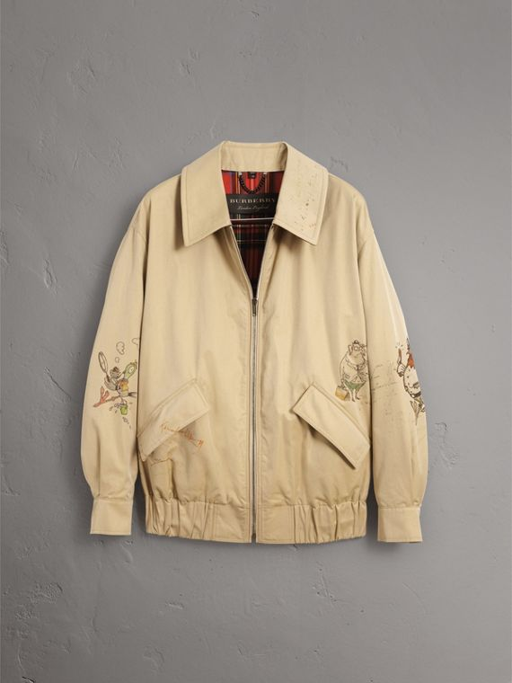 Sketch Print Cotton Gabardine Harrington Jacket in Honey - Men | Burberry - cell image 3