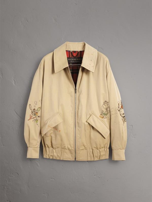 Jaqueta Harrington de gabardine de algodão com estampa de desenho (Mel) - Homens | Burberry - cell image 3