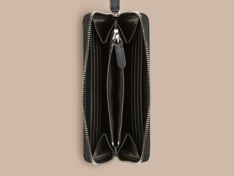 London Leather Ziparound Wallet in Black | Burberry Australia - cell image 4