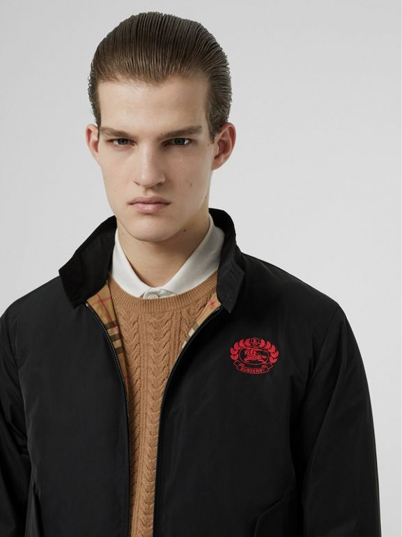 Crest Detail Shape-memory Taffeta Harrington Jacket in Black - Men | Burberry United Kingdom - cell image 1