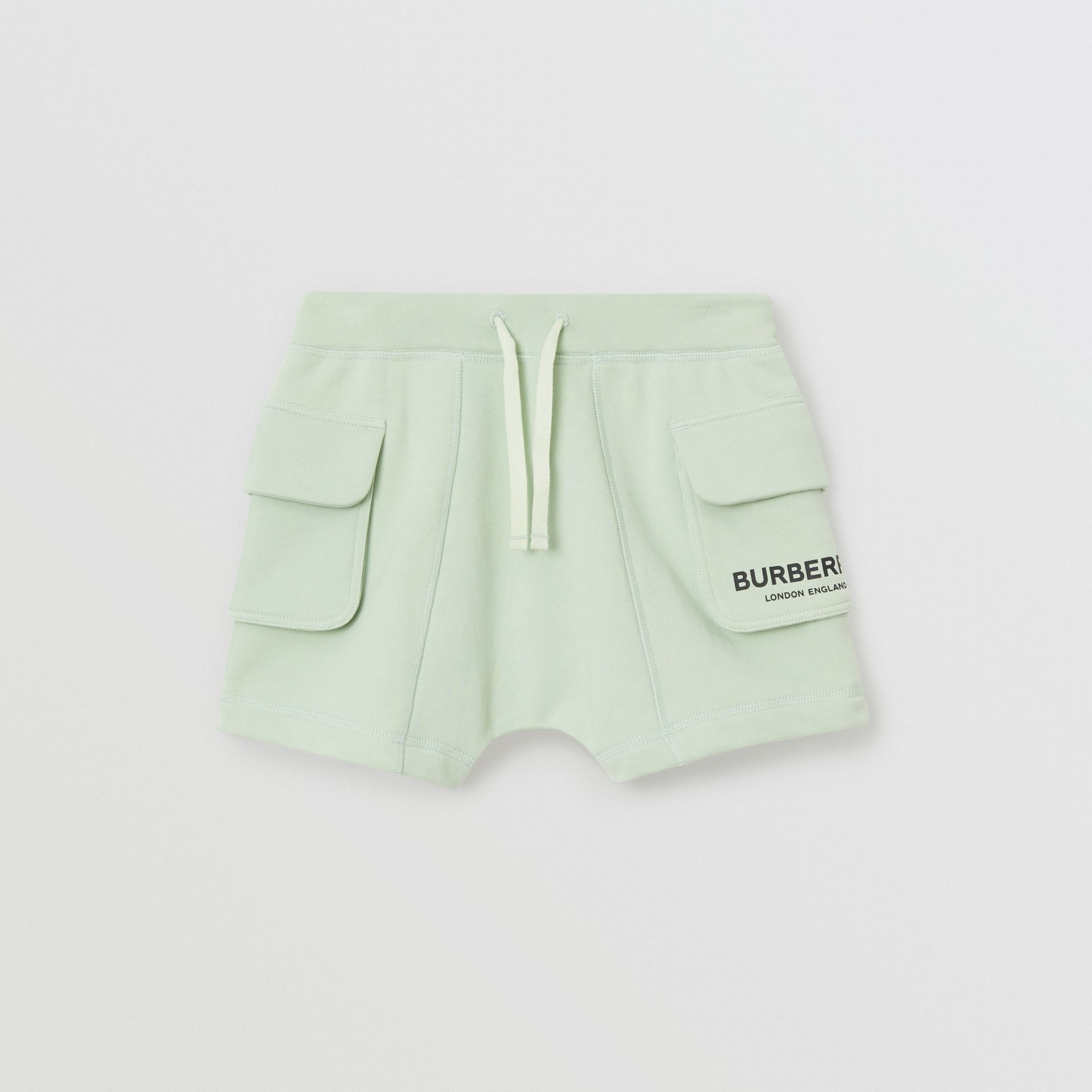 Logo Print Cotton Drawcord Shorts in Pale Mint | Burberry Singapore - gallery image 0