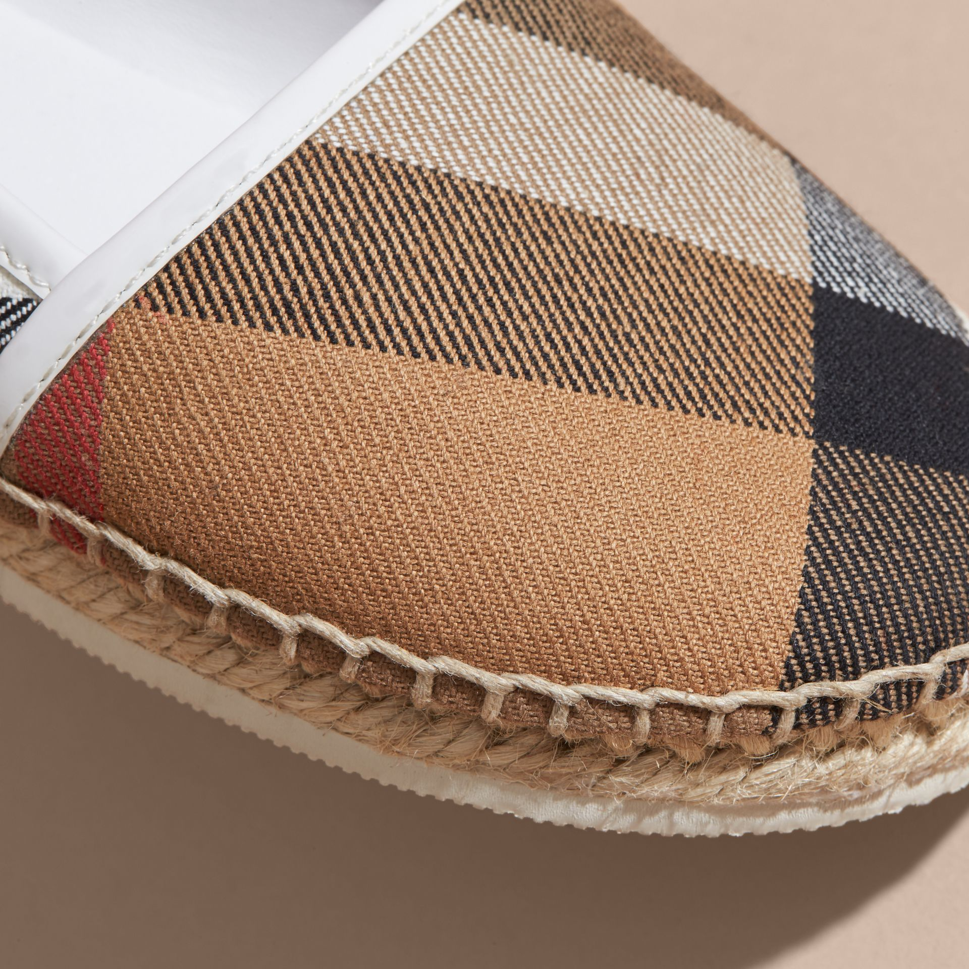 House Check Cotton Canvas Espadrilles in Optic White - Girl | Burberry - gallery image 2