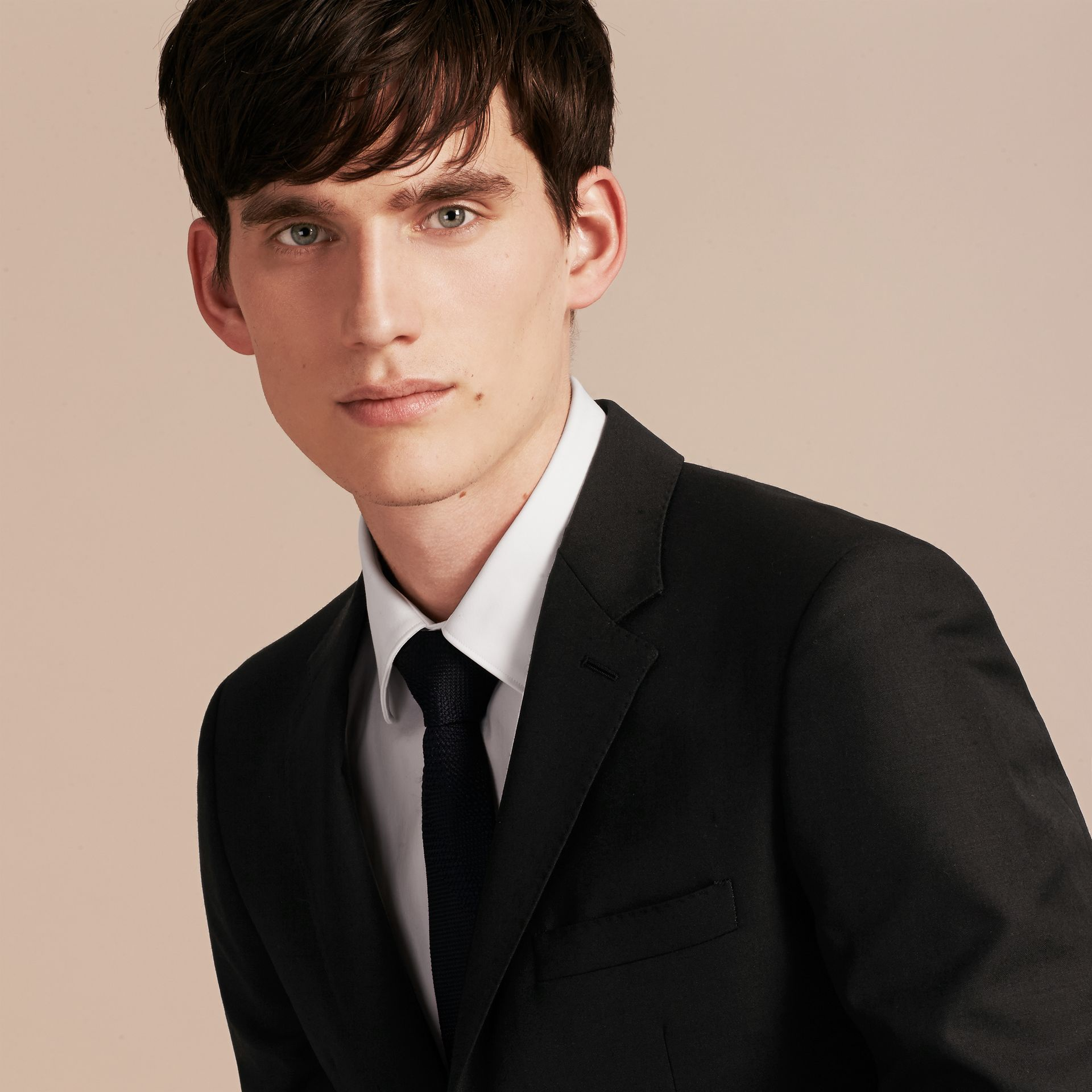 Slim Fit Wool Part-canvas Suit in Black - Men | Burberry Canada - gallery image 7