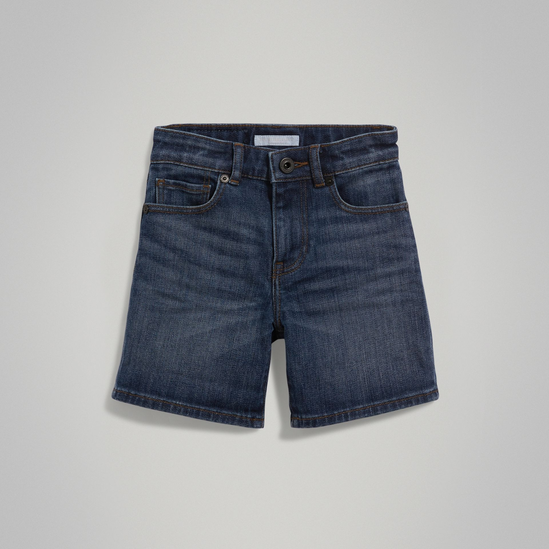 Relaxed Fit Stretch Denim Shorts in Mid Indigo | Burberry - gallery image 0