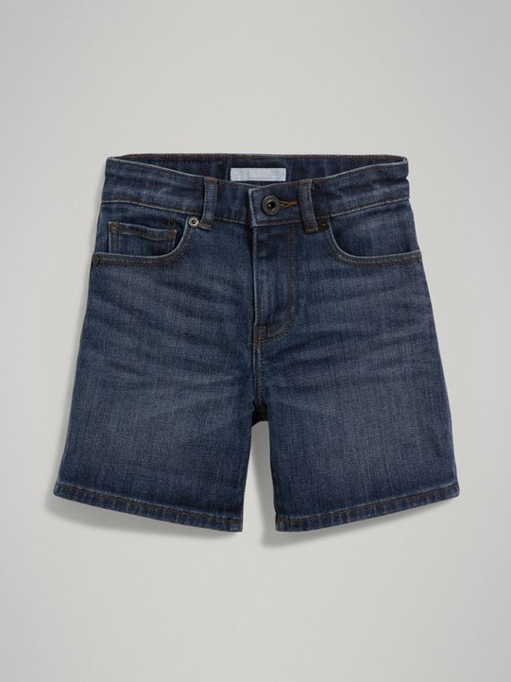 Relaxed Fit Stretch Denim Shorts in Mid Indigo