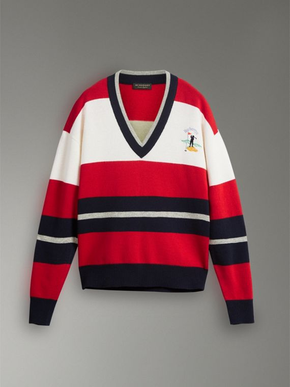 Reissued Striped Lambswool Sweater in Red/white - Men | Burberry Hong Kong - cell image 3