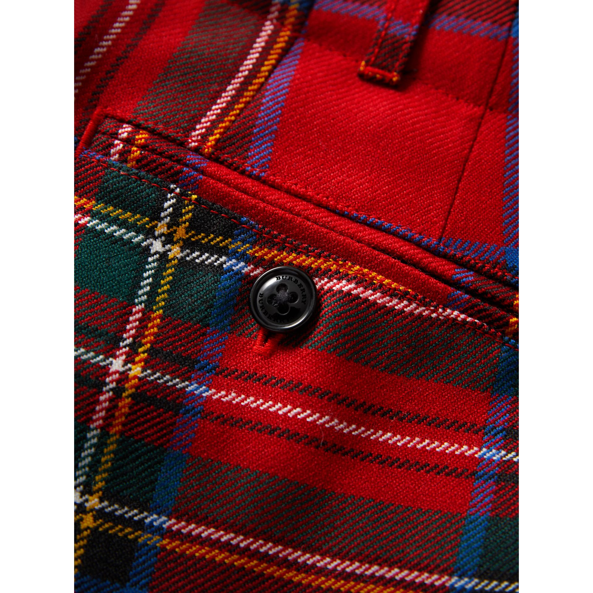 Tartan Wool Trousers in Bright Red | Burberry - gallery image 1