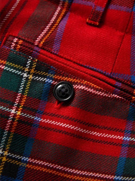 Tartan Wool Trousers in Bright Red | Burberry - cell image 1