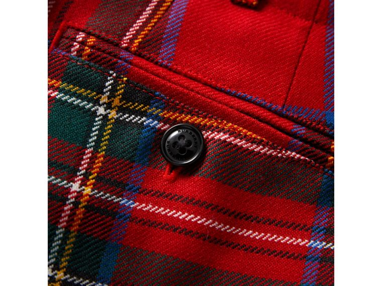 Tartan Wool Trousers in Bright Red | Burberry United Kingdom - cell image 1